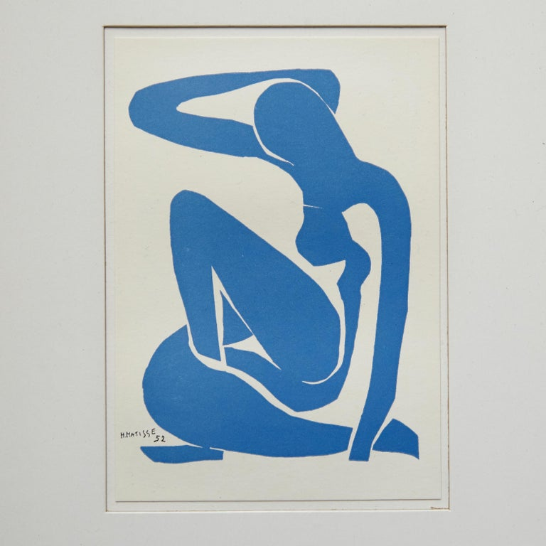 Henri Matisse Bleu Lithography, circa 1980. Edited by Edition des Nouvelles Images, France.  In original condition, with minor wear consistent with age and use, preserving a beautiful patina.  Materials: Paper  Dimensions: With frame: W 24