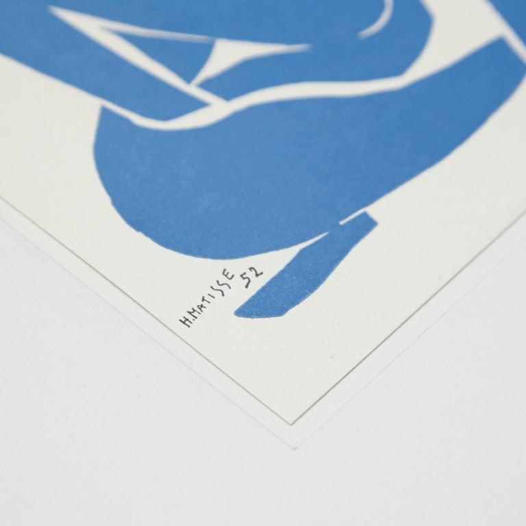 Mid-Century Modern Henri Matisse Bleu Lithography, circa 1980