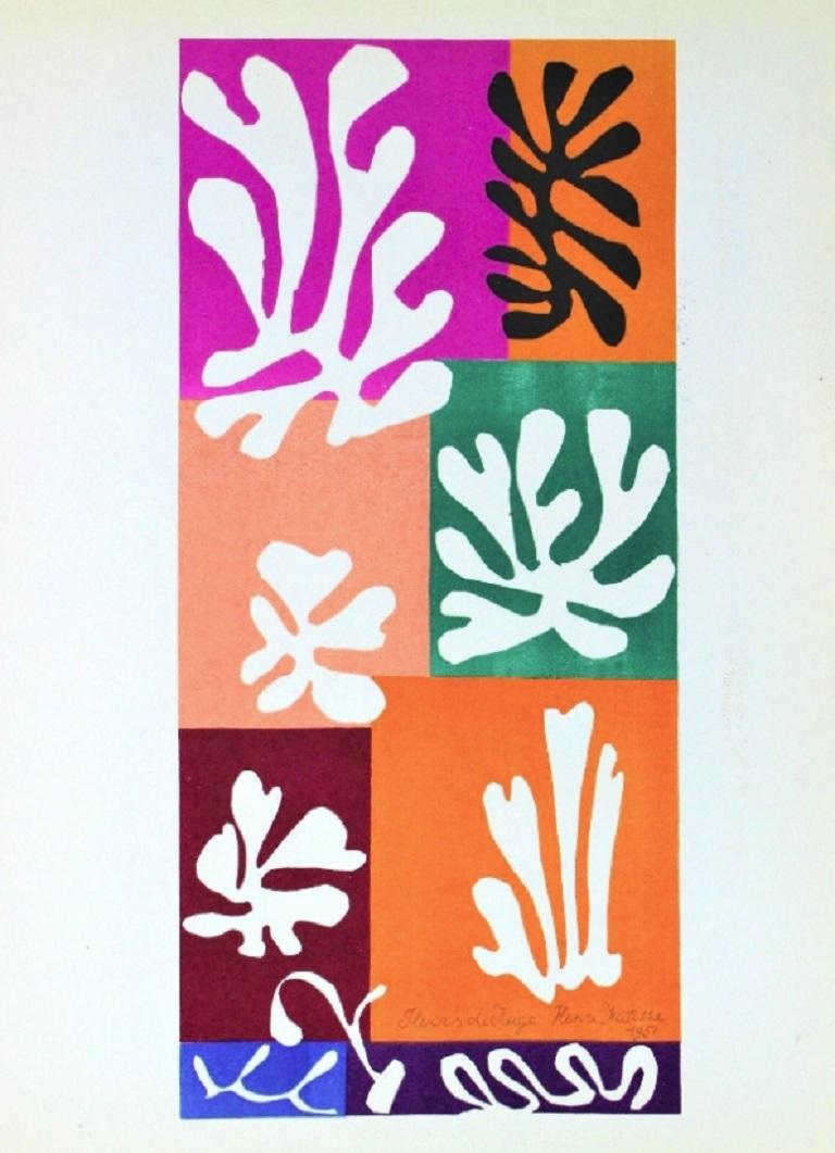 Mid-20th Century Henri Matisse Fleur de Neige Original Vintage Poster For Sale
