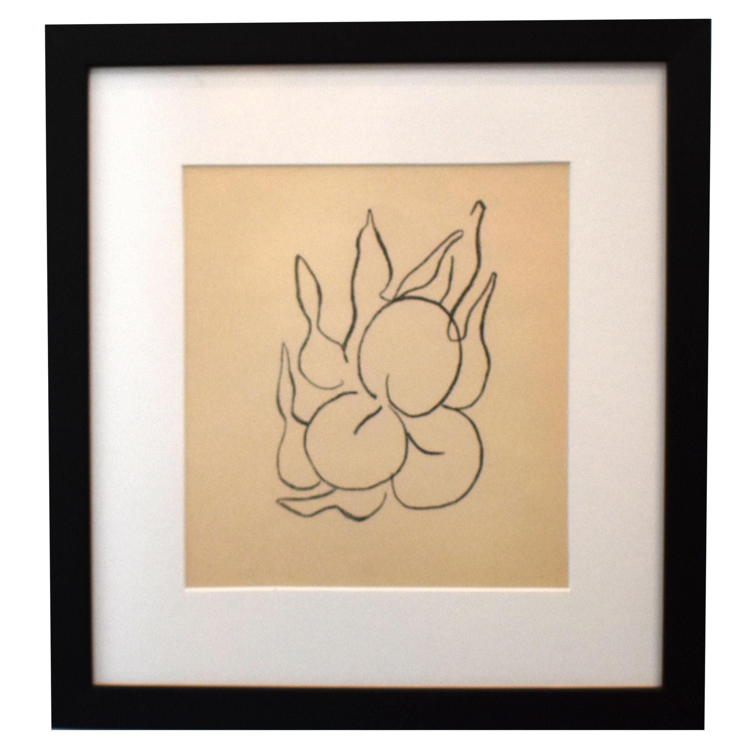 "Henri Matisse ""Fruits"" Black & White Lithograph by Henri Matisse"
