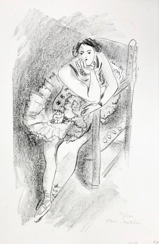Henri Matisse Figurative Print - D.483 (Dancer on Wooden Armchair) from Dix Danseuses