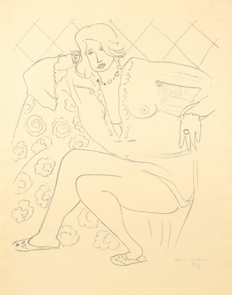 Henri Matisse Figure assise, blouse transparente 1929 Lithograph on Japon paper, Edition of 25 Paper size: 64.5 x 50 cms (25.4 x 19.7 ins) Image size: 53.5 x 44.8  cms (21 x 17 5/8 ins) HM16568