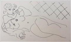 Figure Lying in front of a Tiled Floor (Figure allongée devant un carrelage)
