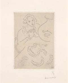 Figure mains jointes et nappe à décor persan - Matisse etching