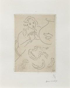 Figure mains jointes et nappe à décor persan
