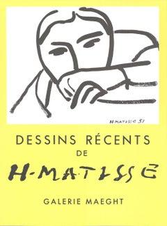 """Henri Matisse-Dessins Recents-24.25"""" x 18.75""""-Lithograph-1968-Modernism-Yellow"""