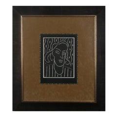 "Henri Matisse  Linocut 31 in. x 27.5 in. ""Teeny"""