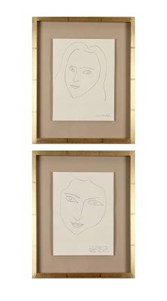 Henri Matisse: Portraits of Angela Lamotte. Framed pair of prints.