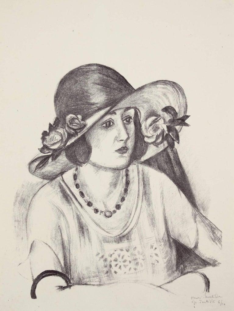 Henri Matisse Portrait Print - La capeline de paille d'Italie