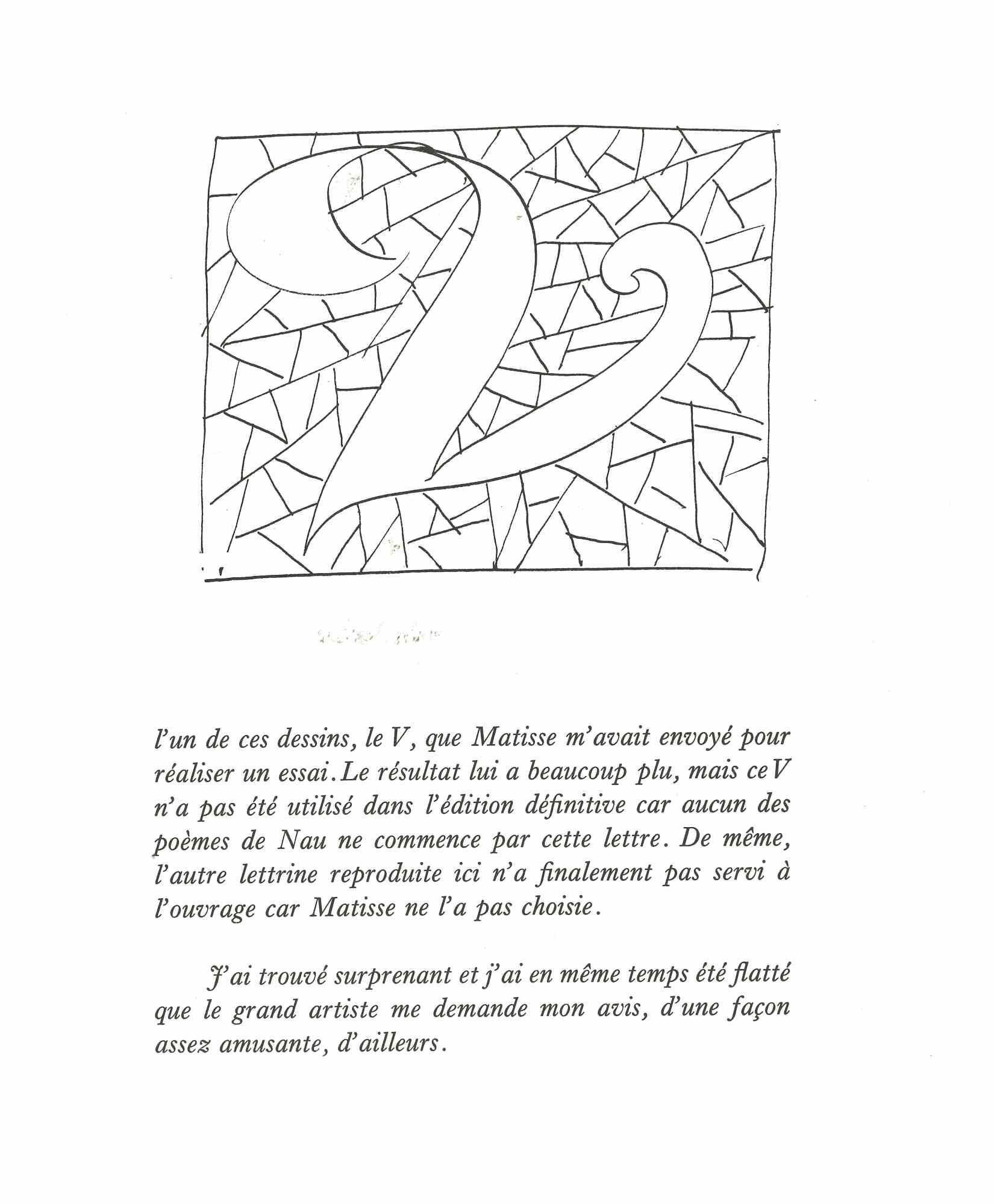 """Le """"V"""" - Original Lithgraph after Henri Matisse - 1982"""