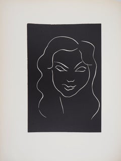 Model with Long Hair - Original linocut, 1943 - Referenced in Duthuit #9