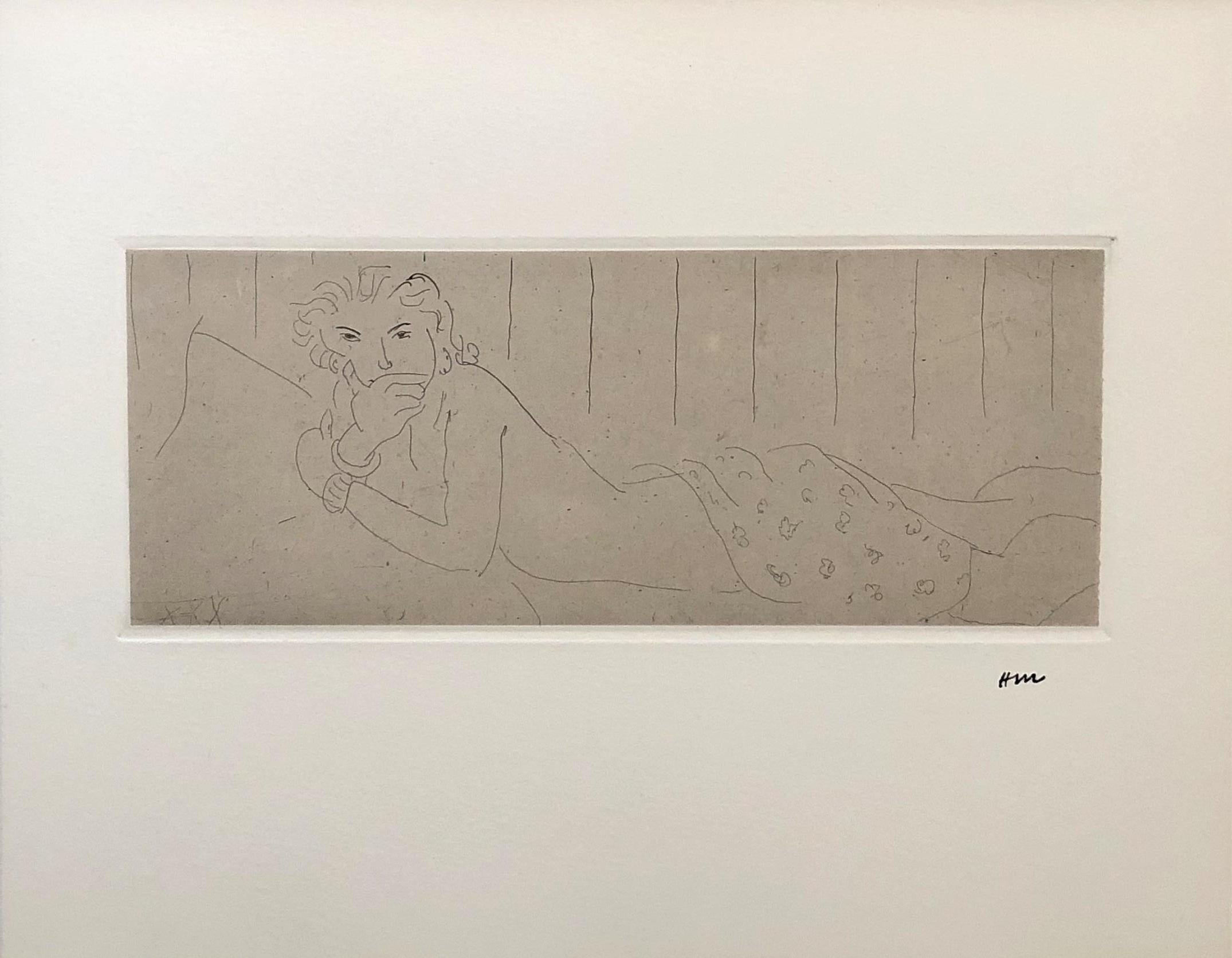 Nude Lying Down - Original etching - edition of 117 - Stamp-Signed