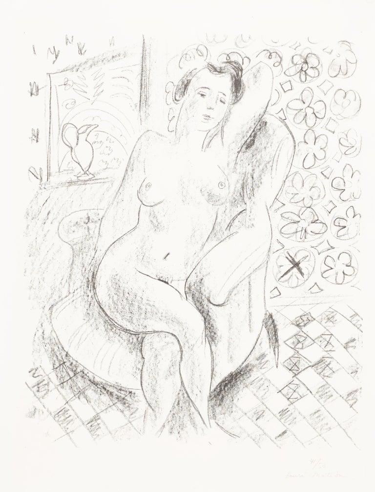 Henri Matisse Nu au fauteuil sur fond moucharabieh 1925 Lithograph on Arches vellum paper, Edition of 50 Paper size: 65.5 x 50 cms (25 3/4 x 19 5/8 ins) Image size: 54 x 44 cms (21 1/4 x 17 3/4 ins) HM15832