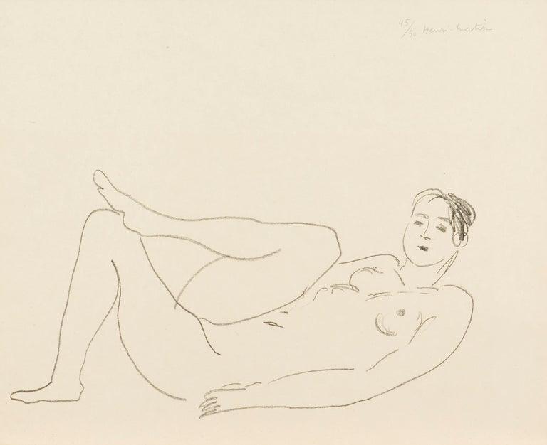 Henri Matisse Nu couché, jambe repliée - Étude de jambes 1925 Lithograph on Japon paper, Edition of 50 Paper size: 45.7 x 56 cms (18 x 22 1/16 ins) Image size: 25.4 x 47.5 cms (10 x 18 5/8 ins) HM15844