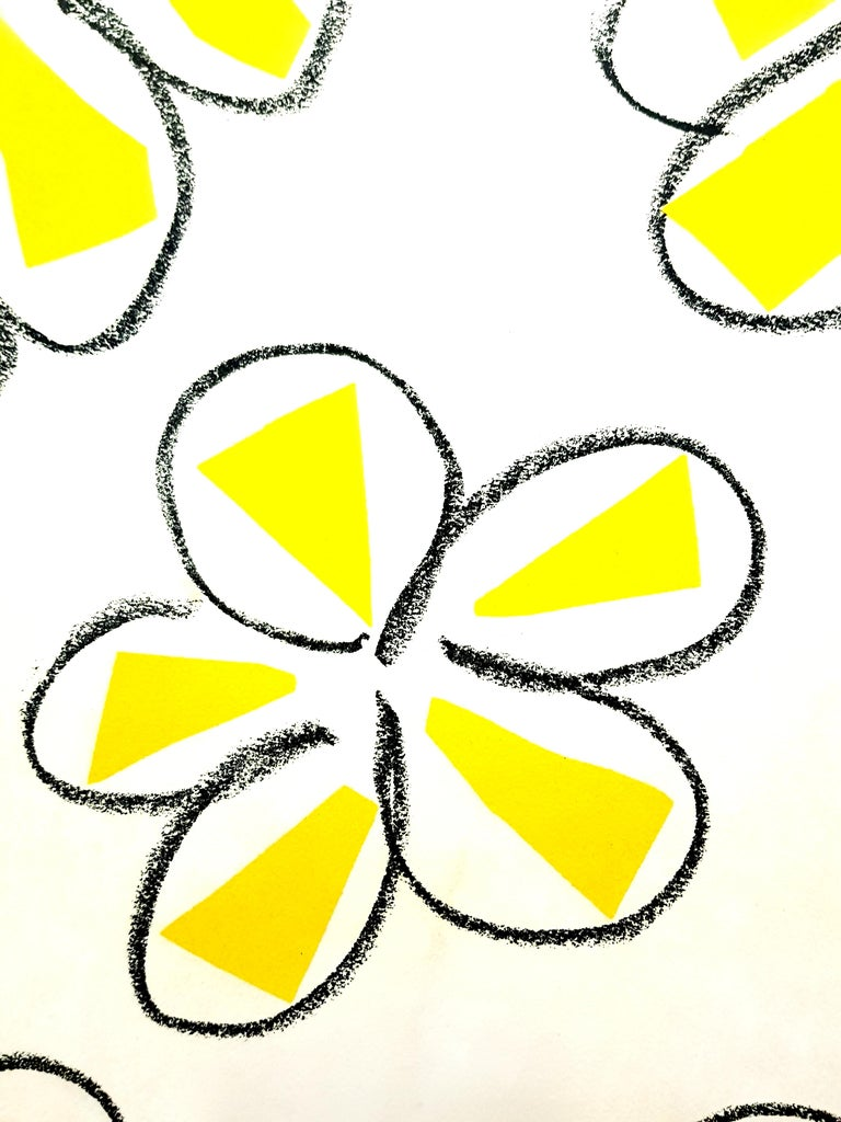 Original Linocut - Henri Matisse - Yellow Flowers - Black Portrait Print by Henri Matisse