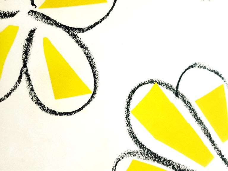 Original Linocut - Henri Matisse - Yellow Flowers For Sale 2