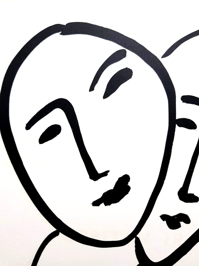 Original Lithograph - Henri Matisse - Three Faces - Black Portrait Print by Henri Matisse