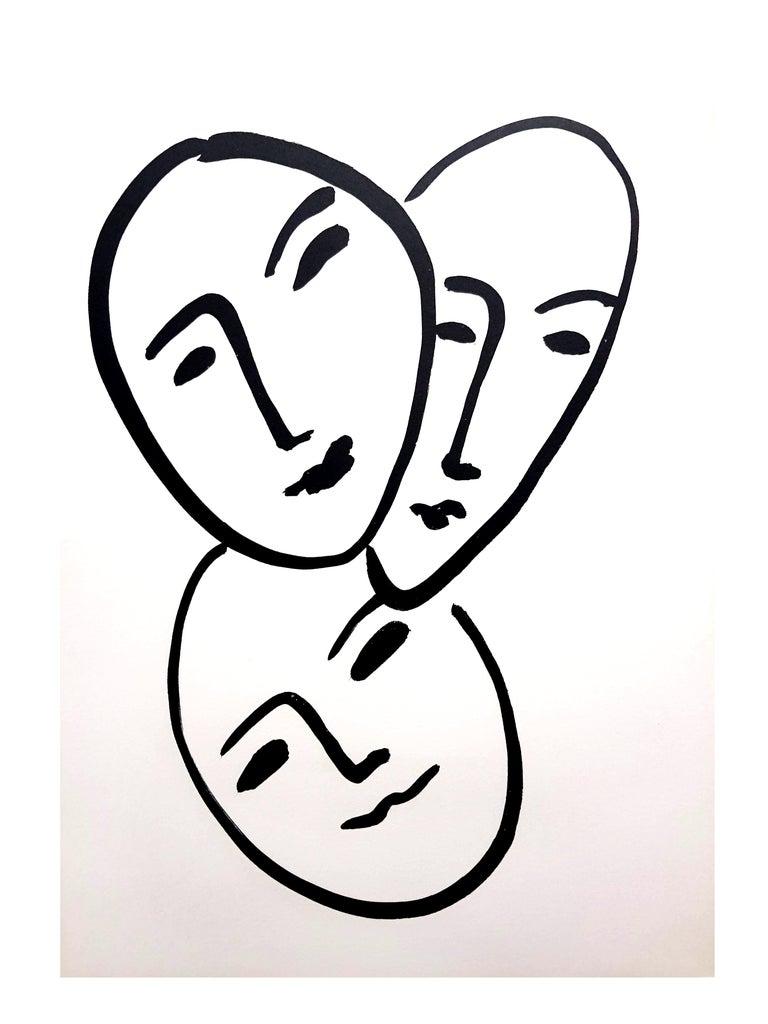 Original Lithograph - Henri Matisse - Three Faces For Sale 1