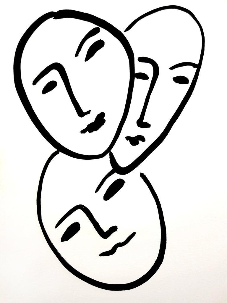 Original Lithograph - Henri Matisse - Three Faces - Print by Henri Matisse