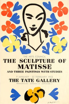 Original Vintage Arts Council Exhibition Poster For Matisse At The Tate Gallery