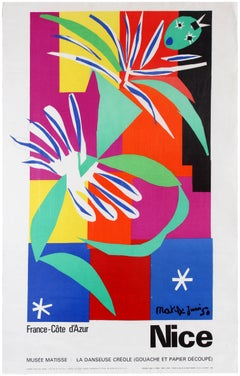Original Vintage Poster Cote d'Azur Nice Musee Matisse Museum La Danseuse Creole