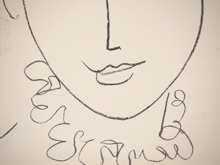 Portrait of a Young Woman (Pompadour) - Original lithograph, Mourlot 1954 - Print by Henri Matisse