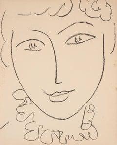 Portrait of a Young Woman (Pompadour) - Original lithograph, Mourlot 1954