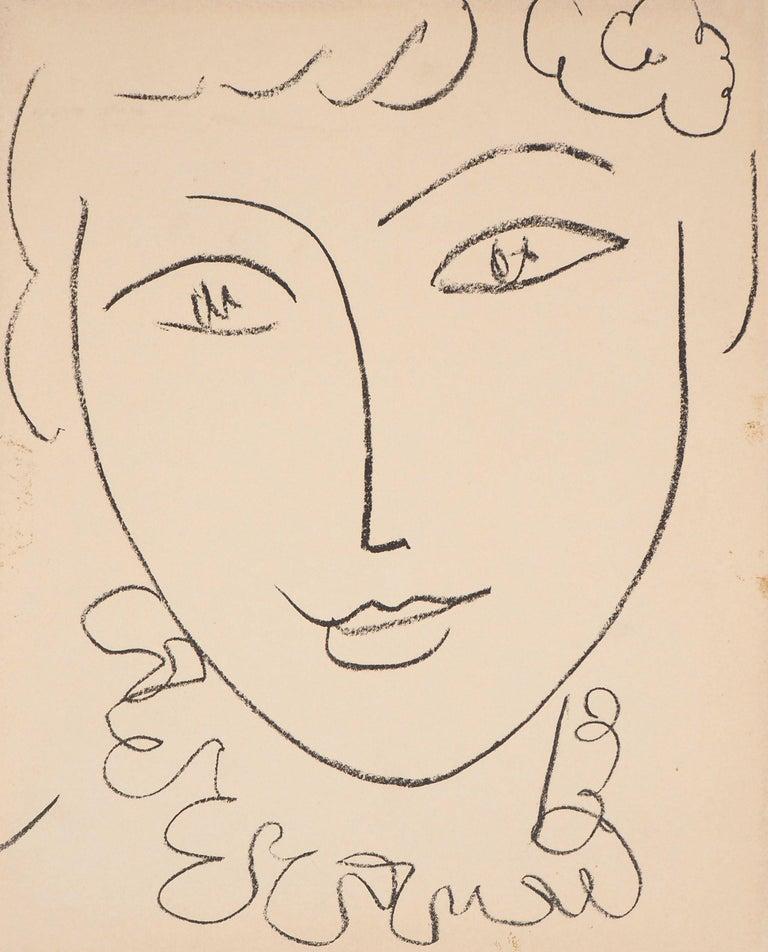 Henri Matisse Portrait Print - Portrait of a Young Woman (Pompadour) - Original lithograph, Mourlot 1954
