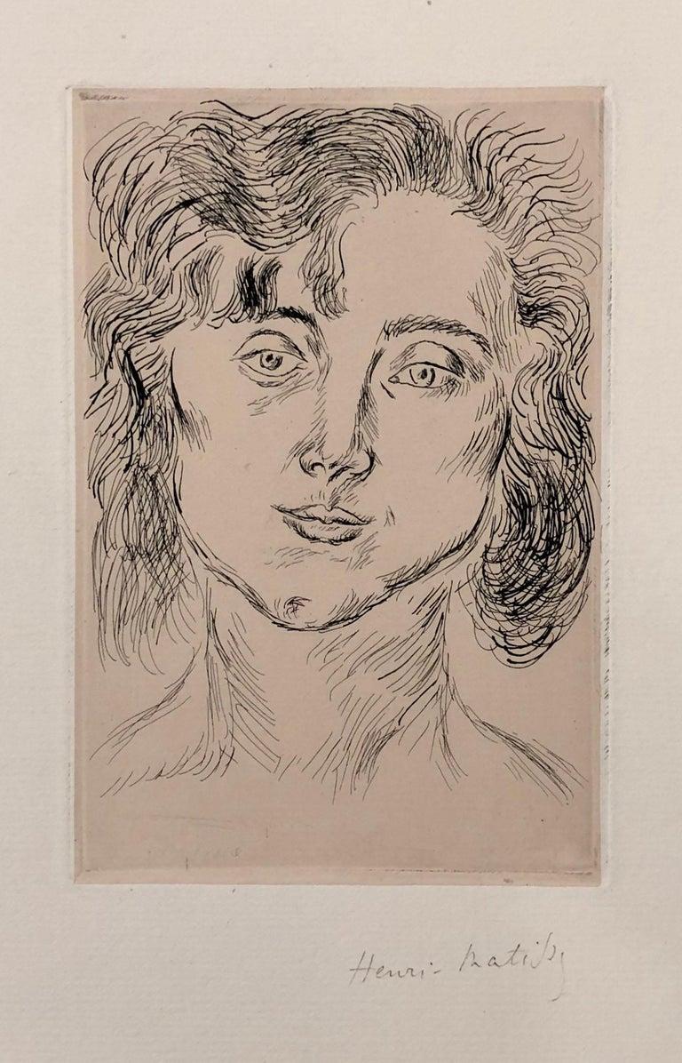Portrait of Mlle. Marguerite Matisse - Brown Portrait Print by Henri Matisse