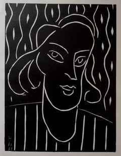 Teeny - Original linocut, 1938 - Referenced in Duthuit #723