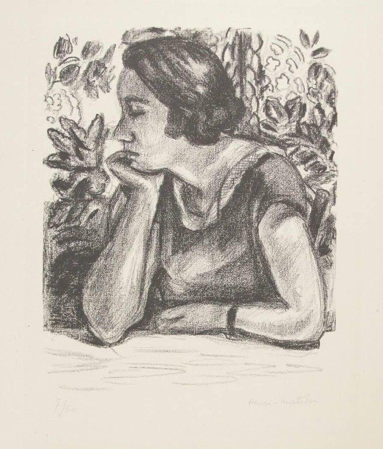 Henri Matisse Figurative Print - Visage de profil reposant sur un bras, paravent