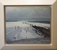 """Beach at low tide"" France, sea, ocean Oil cm. 55 x 46 1930ca"