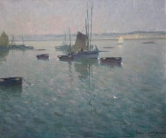 Boats in the port - Douarnenez ,France,Sailboats, blue, gray, impressionist,Sea