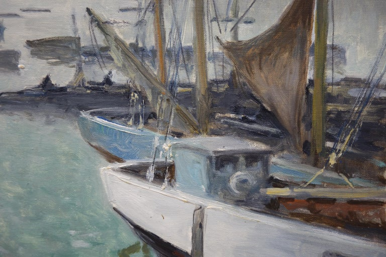 Boats in the port ,France,Sailboats, blue, gray, impressionist,Sea - Painting by Henri Maurice CAHOURS