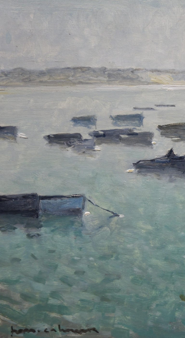 Boats in the port ,France,Sailboats, blue, gray, impressionist,Sea - Impressionist Painting by Henri Maurice CAHOURS