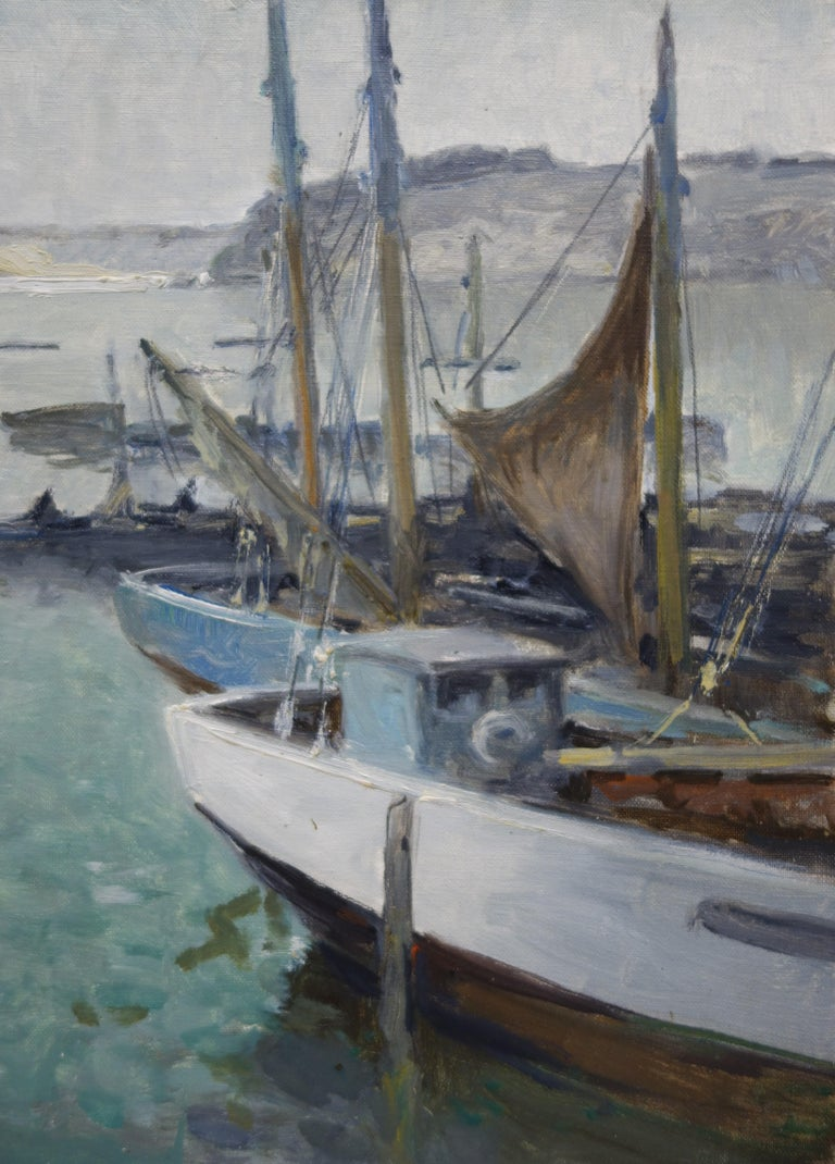 Boats in the port ,France,Sailboats, blue, gray, impressionist,Sea - Gray Figurative Painting by Henri Maurice CAHOURS