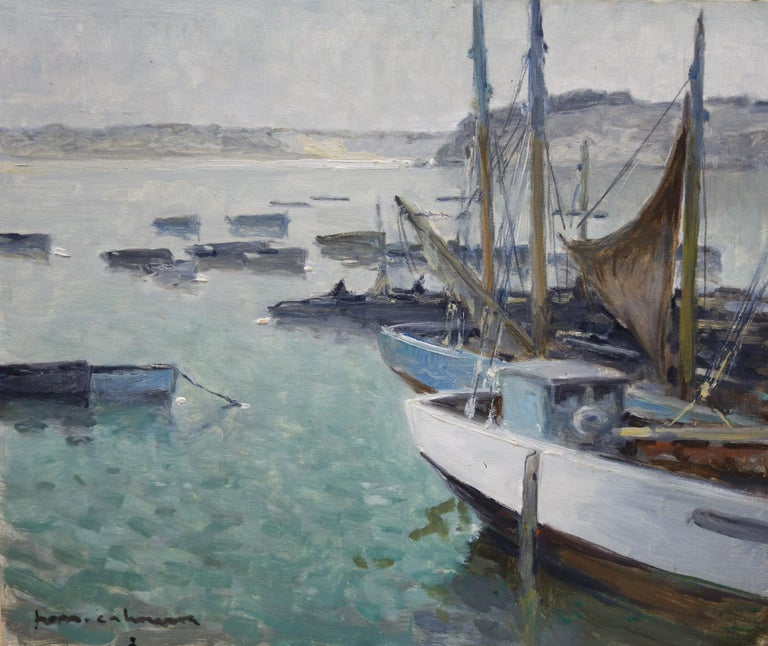 Henri Maurice CAHOURS Figurative Painting - Boats in the port ,France,Sailboats, blue, gray, impressionist,Sea