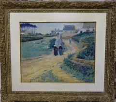 """""""Bretonnes sur le chamin du village"""" France oil cm. 61 x 52 1915"""