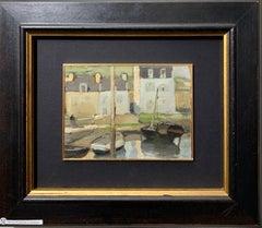 """""""Douarnenez"""" France Oil cm. 20 x 14 1930"""