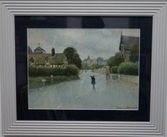 Rainy day Northern France  gouache cm. 40 x 30 1930 ca