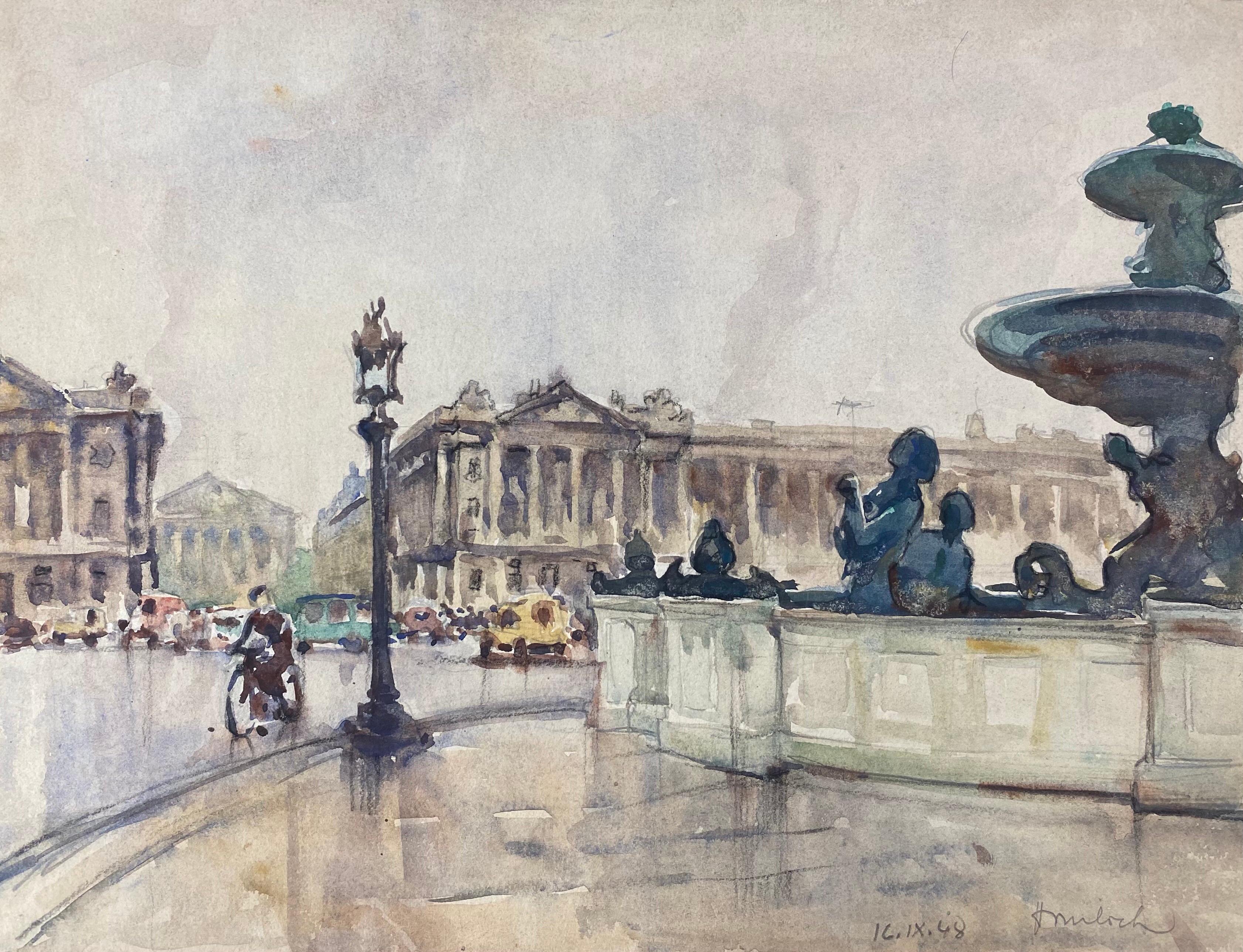 Ecole de Paris Mid 20th Century, A Scene by Place De Le Concorde Paris
