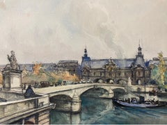 Ecole de Paris Mid 20th Century, A Scene by The River Seine