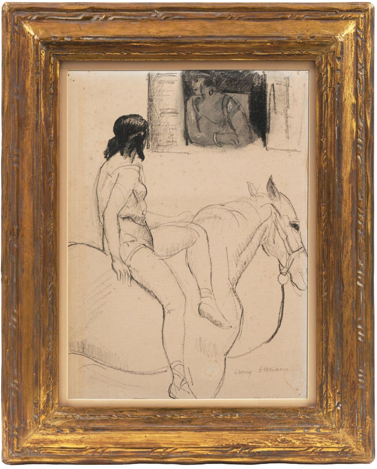 'Entente', French Post-Impressionist Equestrian Figural Drawing; Salon d'Automne - Painting by Henri Ottmann