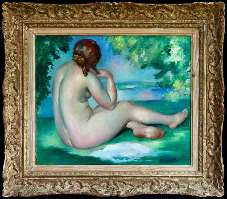 Nu au bord du lac - Post Impressionist Oil, Nude in Landscape by Henri Ottmann For Sale 1