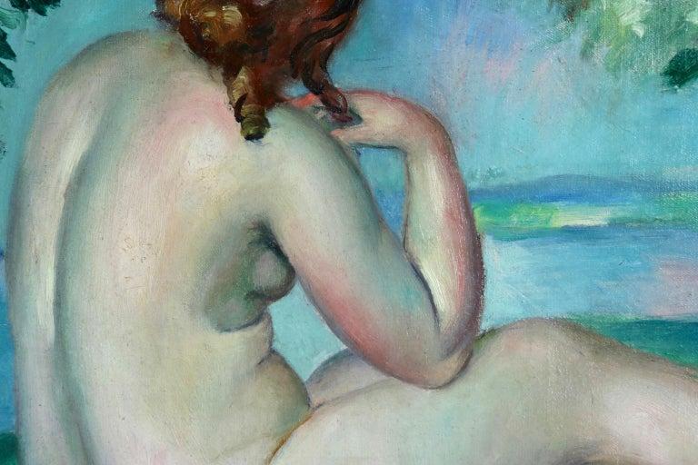 Nu au bord du lac - Post Impressionist Oil, Nude in Landscape by Henri Ottmann For Sale 2