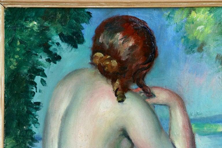 Nu au bord du lac - Post Impressionist Oil, Nude in Landscape by Henri Ottmann For Sale 3