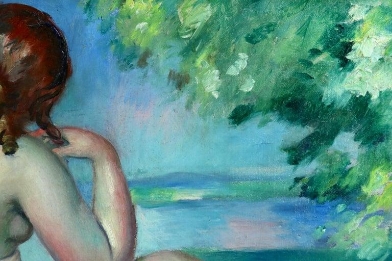Nu au bord du lac - Post Impressionist Oil, Nude in Landscape by Henri Ottmann For Sale 7