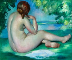 Nu au bord du lac - Post Impressionist Oil, Nude in Landscape by Henri Ottmann