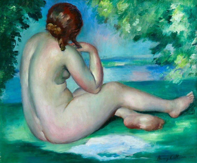 A wonderful oil on canvas circa 1920 by French post impressionist painter Henri Ottmann depicting a woman seated in the opening of the trees, playing with her hair as she looks towards the lake. Beautifully brushed and coloured. Signed lower right.