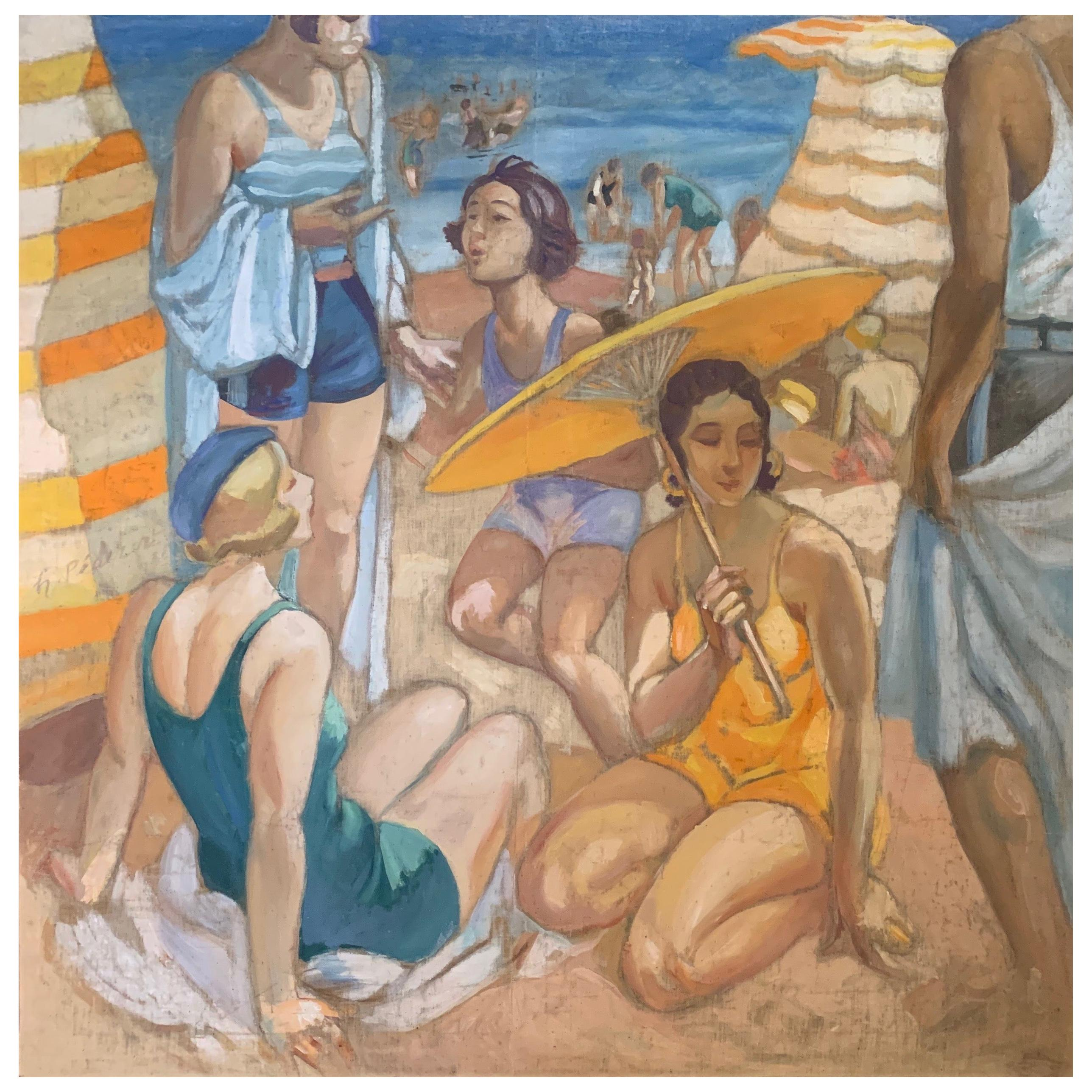 Henri Pedezert 'Day At The Beach' French Art Deco Oil Painting